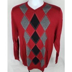 Apt 9 Merino Wool Red & Black Argyle Sweater